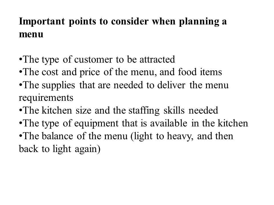 Important points to consider when planning a menu