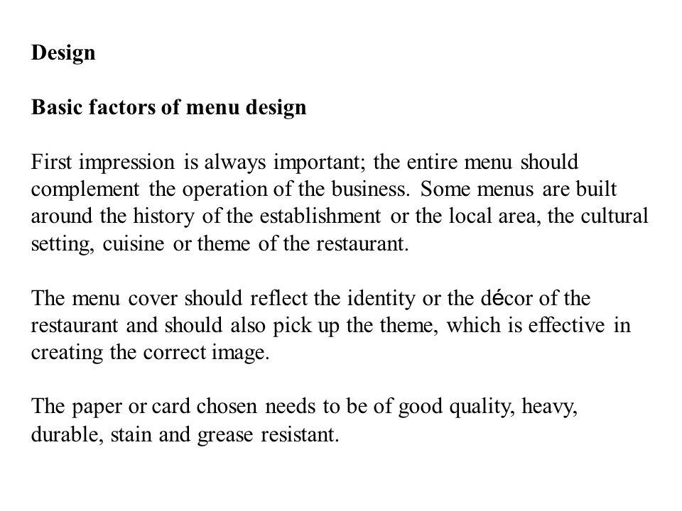 Design Basic factors of menu design.