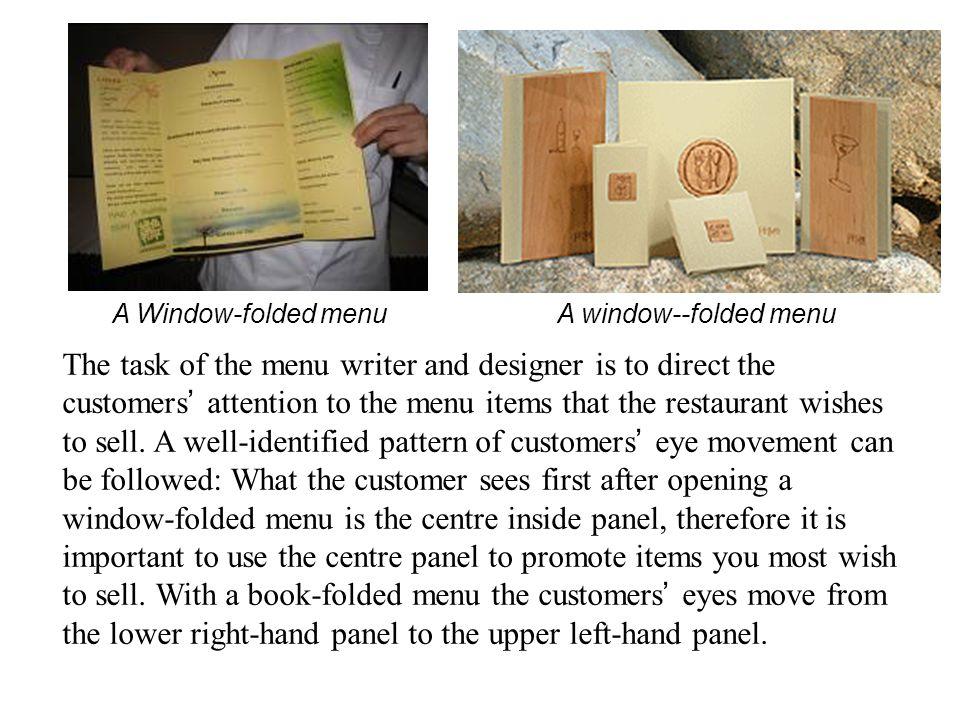 A Window-folded menu A window--folded menu.