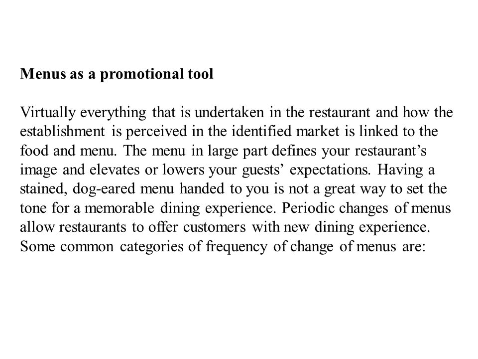 Menus as a promotional tool
