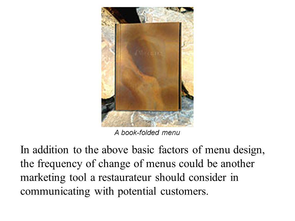 A book-folded menu