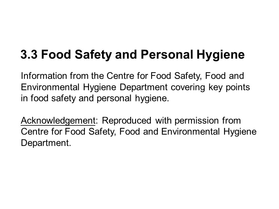 3.3 Food Safety and Personal Hygiene
