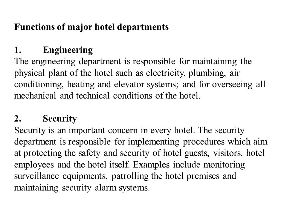 Functions of major hotel departments
