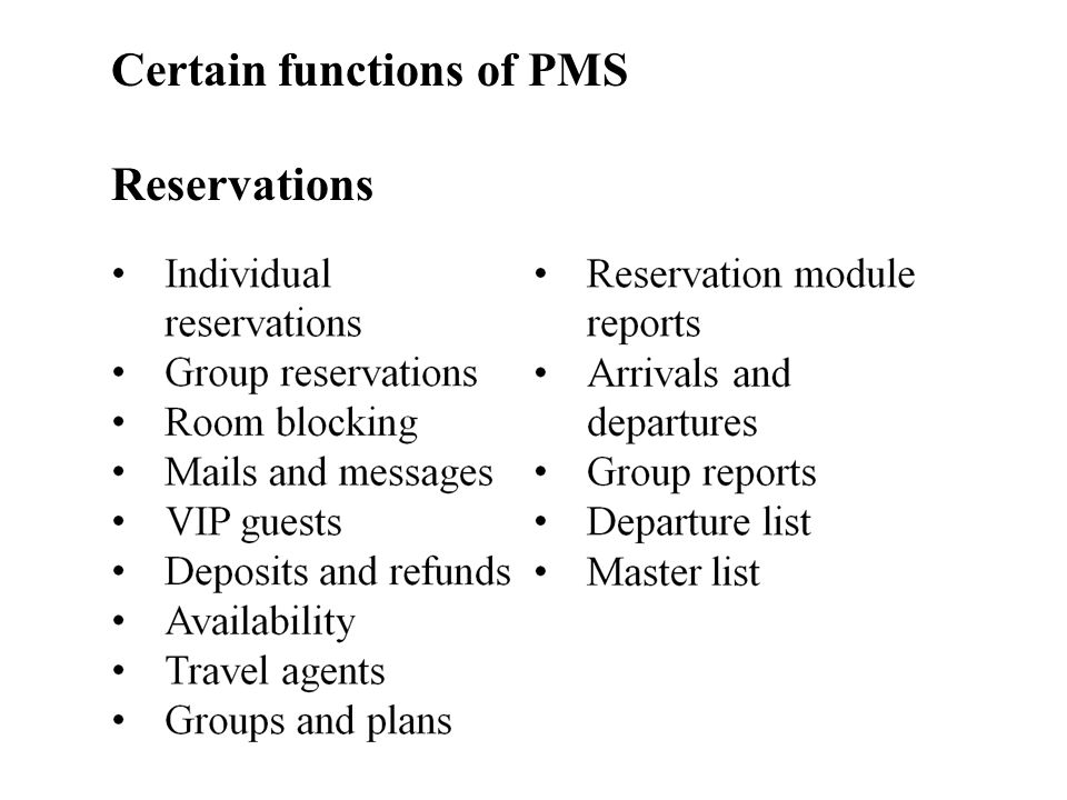 Certain functions of PMS