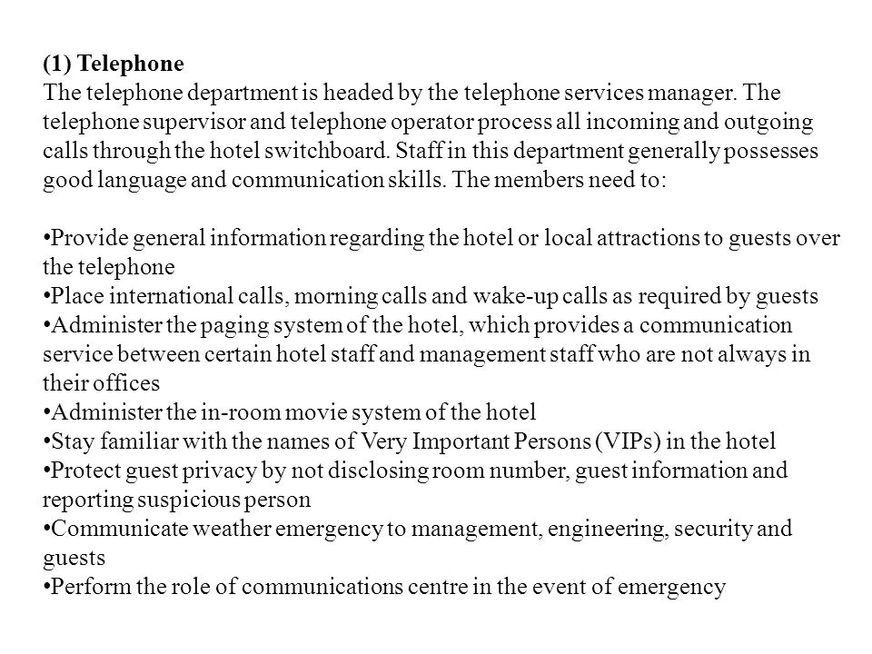 (1) Telephone