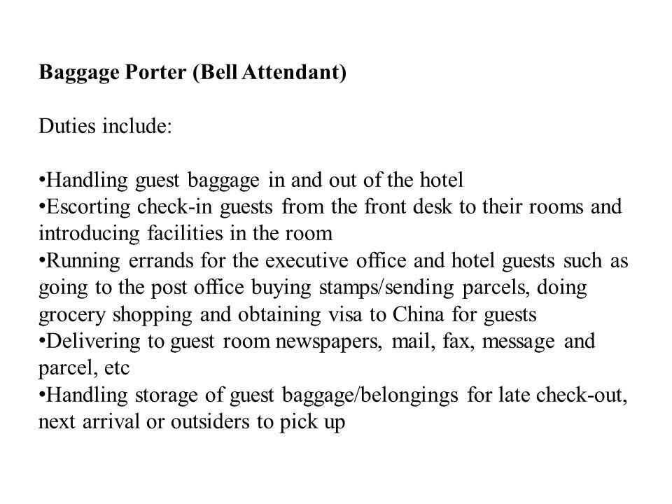 Baggage Porter (Bell Attendant)