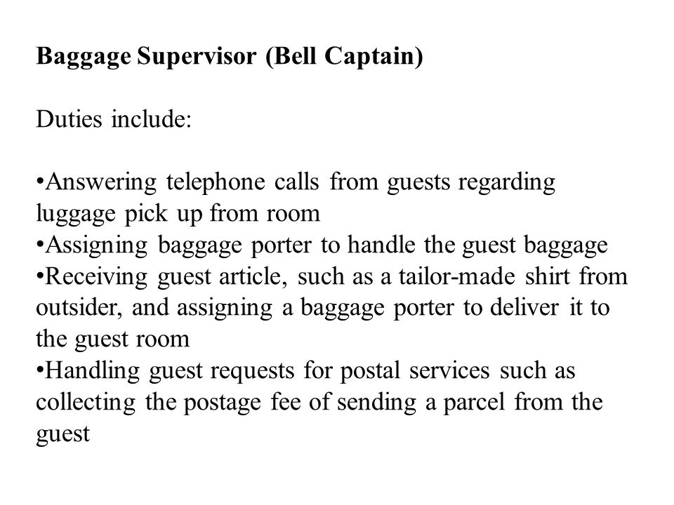 Baggage Supervisor (Bell Captain)