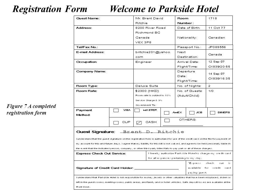 Registration Form Welcome to Parkside Hotel