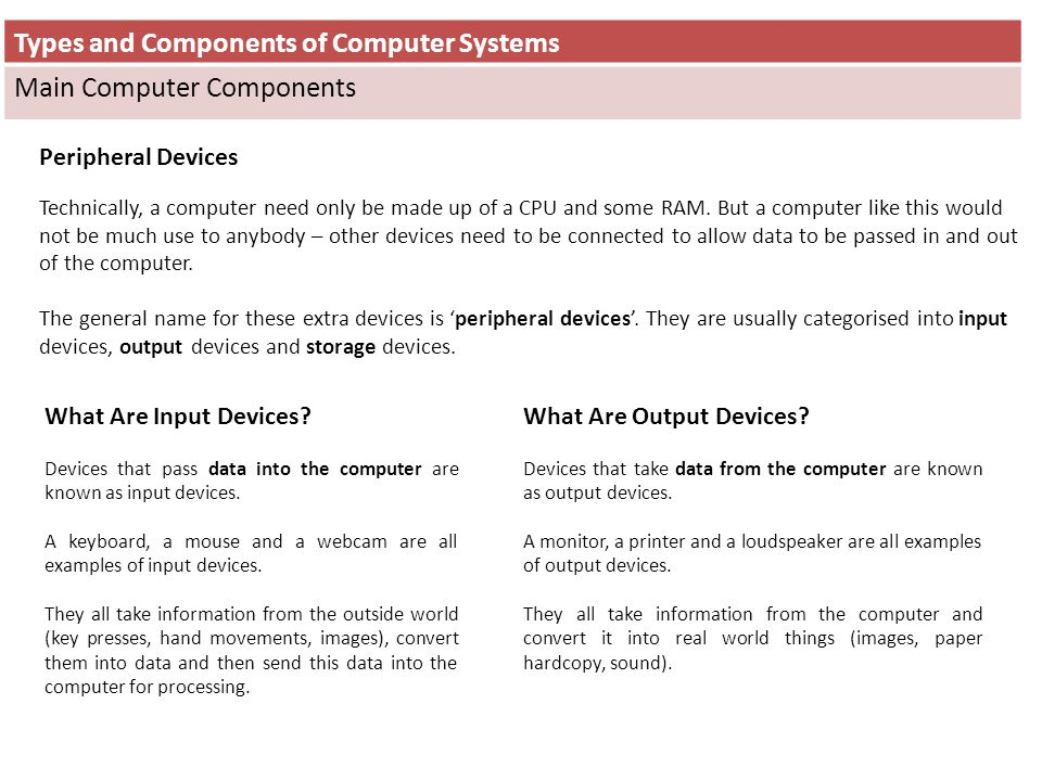 Types and Components of Computer Systems Main Computer Components