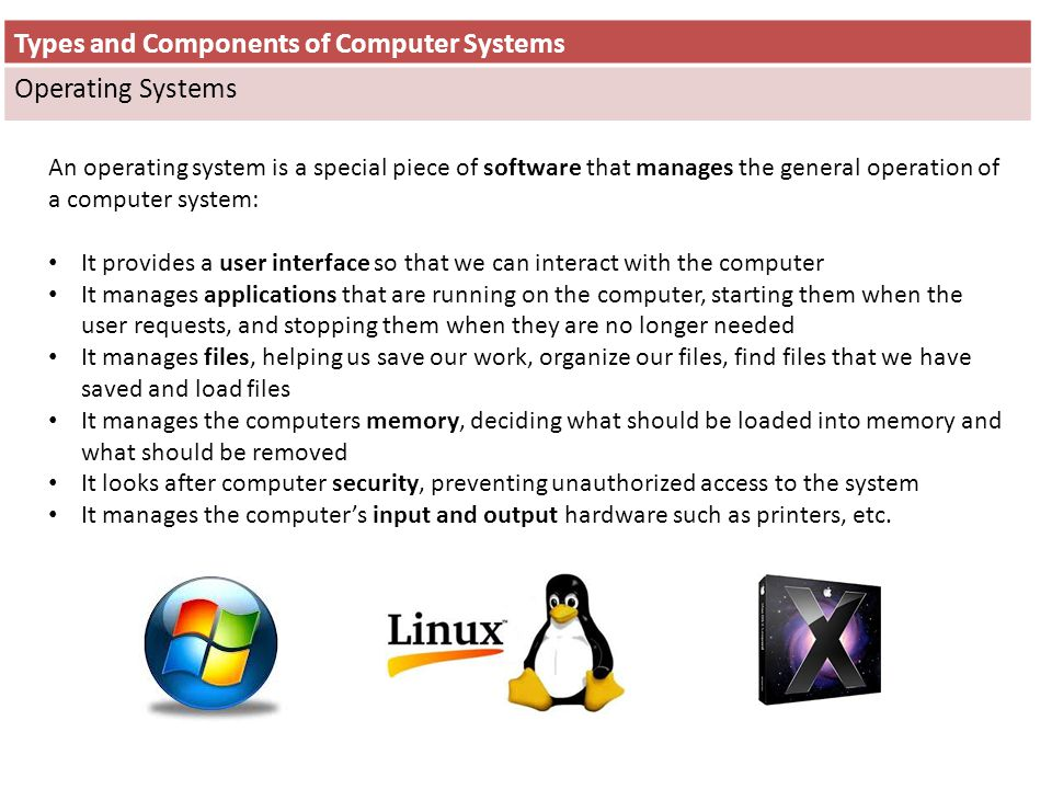 Types and Components of Computer Systems Operating Systems