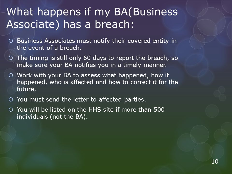 What happens if my BA(Business Associate) has a breach: