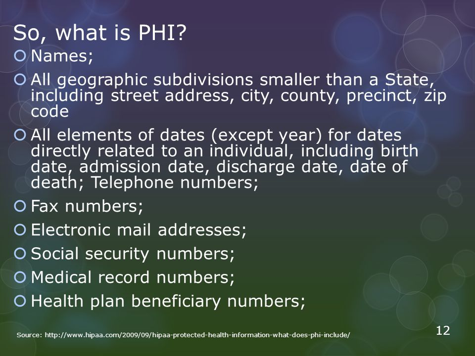 So, what is PHI Names; All geographic subdivisions smaller than a State, including street address, city, county, precinct, zip code.