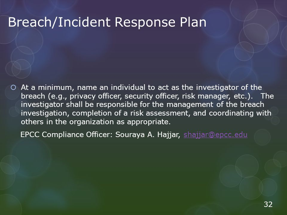 Breach/Incident Response Plan