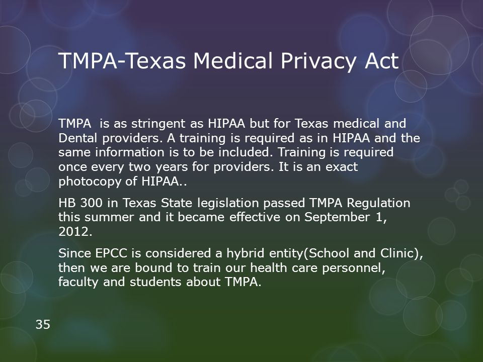 TMPA-Texas Medical Privacy Act