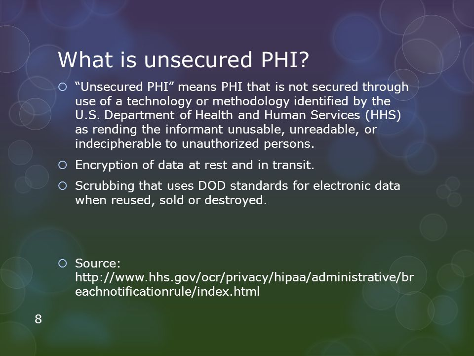What is unsecured PHI