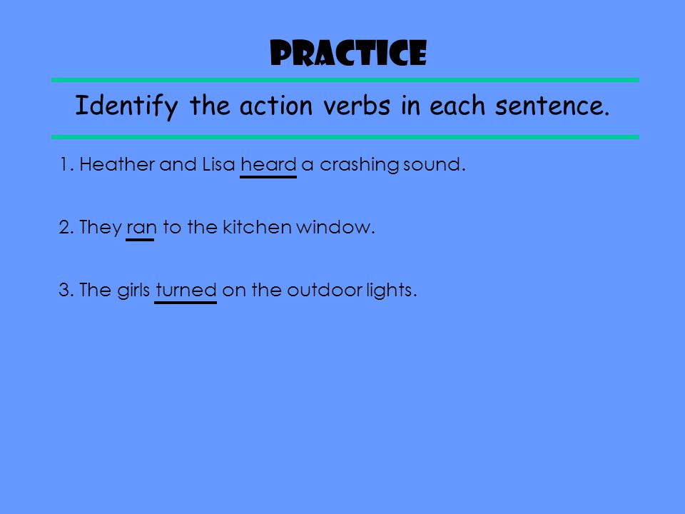 Identify the action verbs in each sentence.