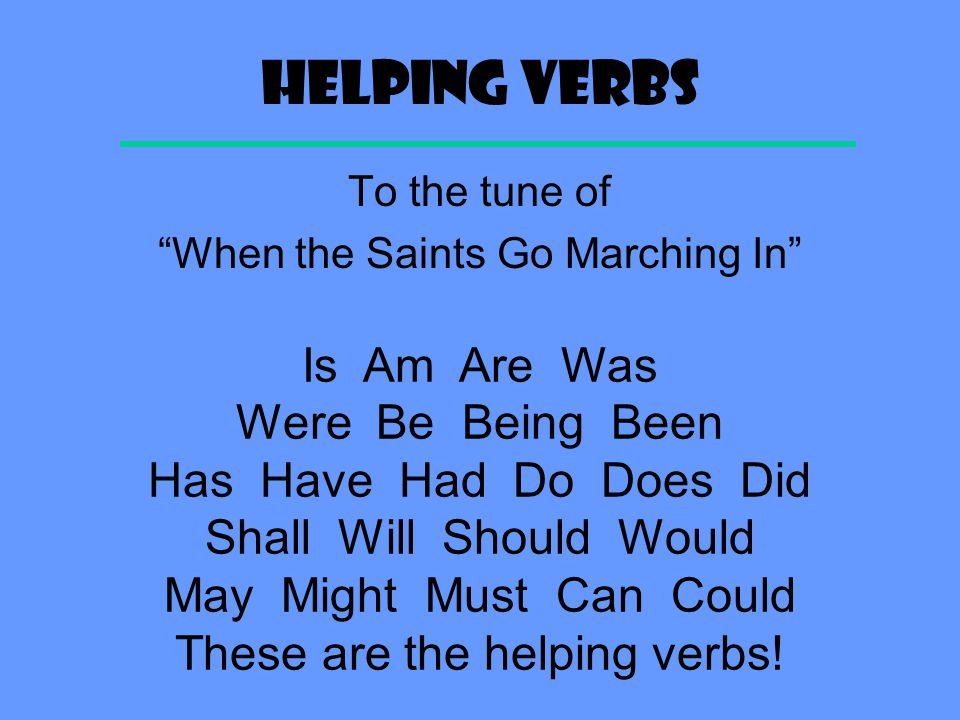 HELPING VERBS Is Am Are Was Were Be Being Been