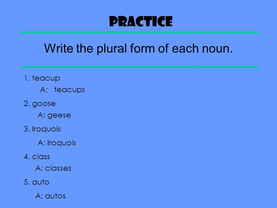 Write the plural form of each noun.