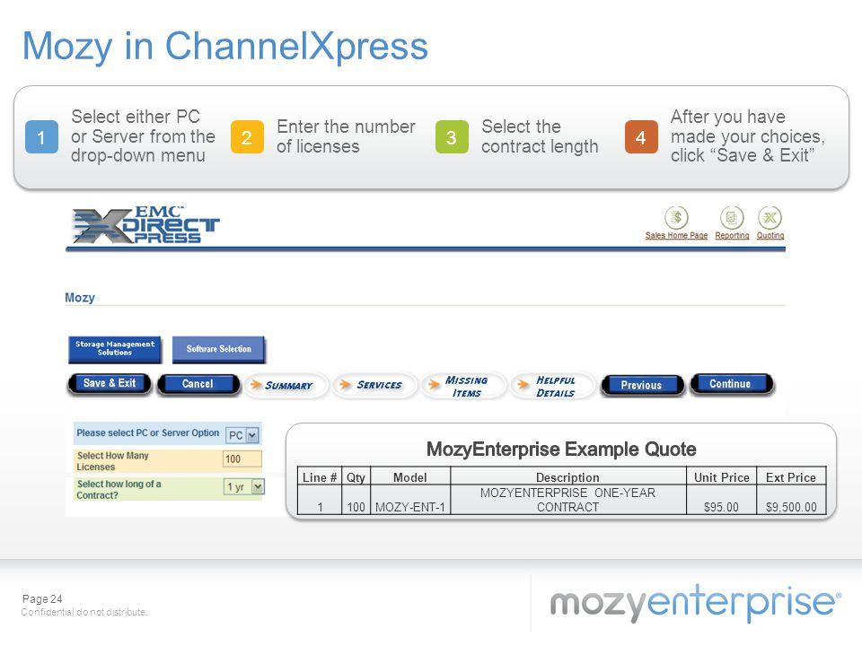 Mozy in ChannelXpress 1 2 3 4 MozyEnterprise Example Quote