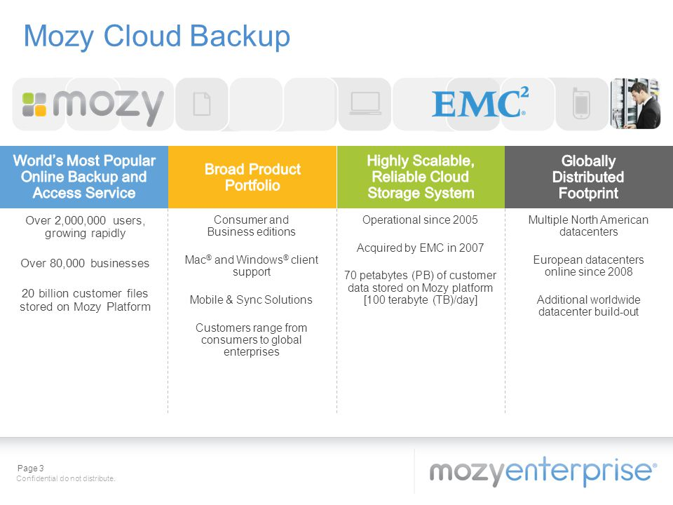 Mozy Cloud Backup World's Most Popular Online Backup and Access Service. Highly Scalable, Reliable Cloud Storage System.