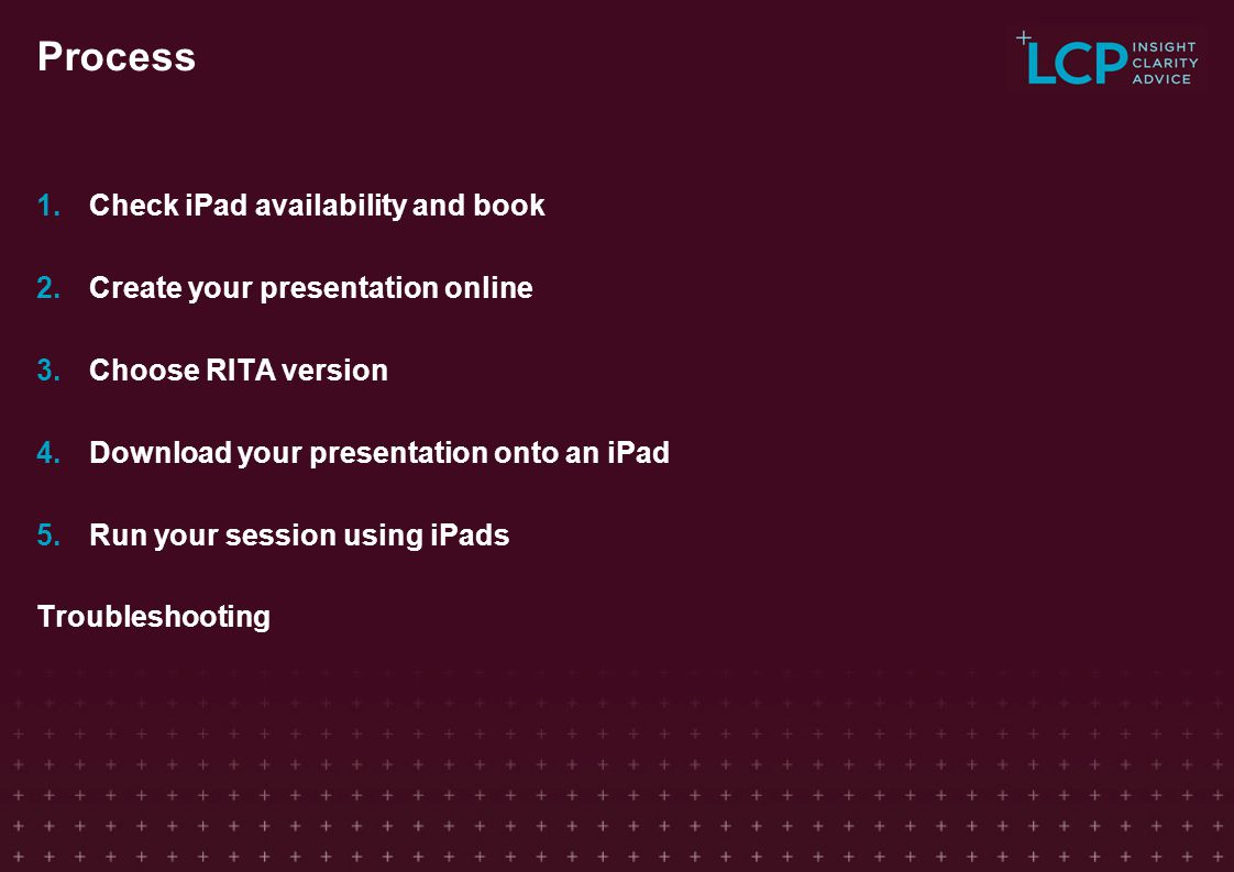 Process Check iPad availability and book