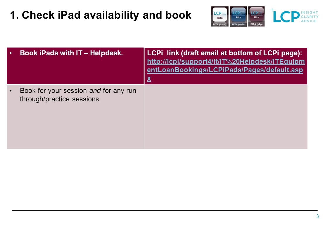 1. Check iPad availability and book