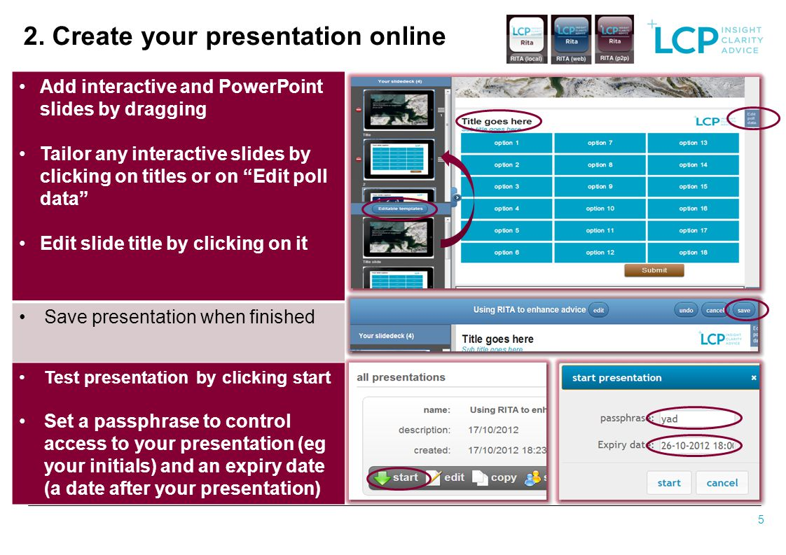 2. Create your presentation online
