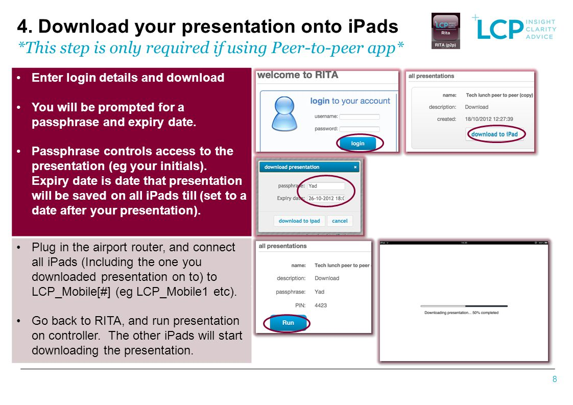 4. Download your presentation onto iPads