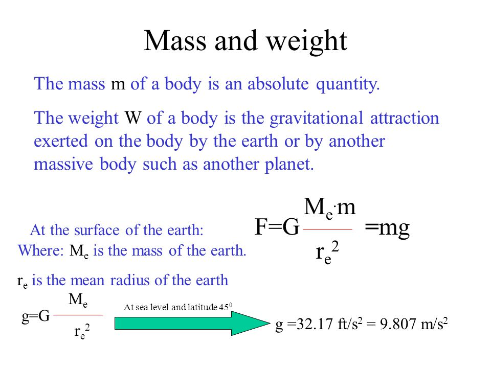 Mass and weight Me.m F=G =mg Me