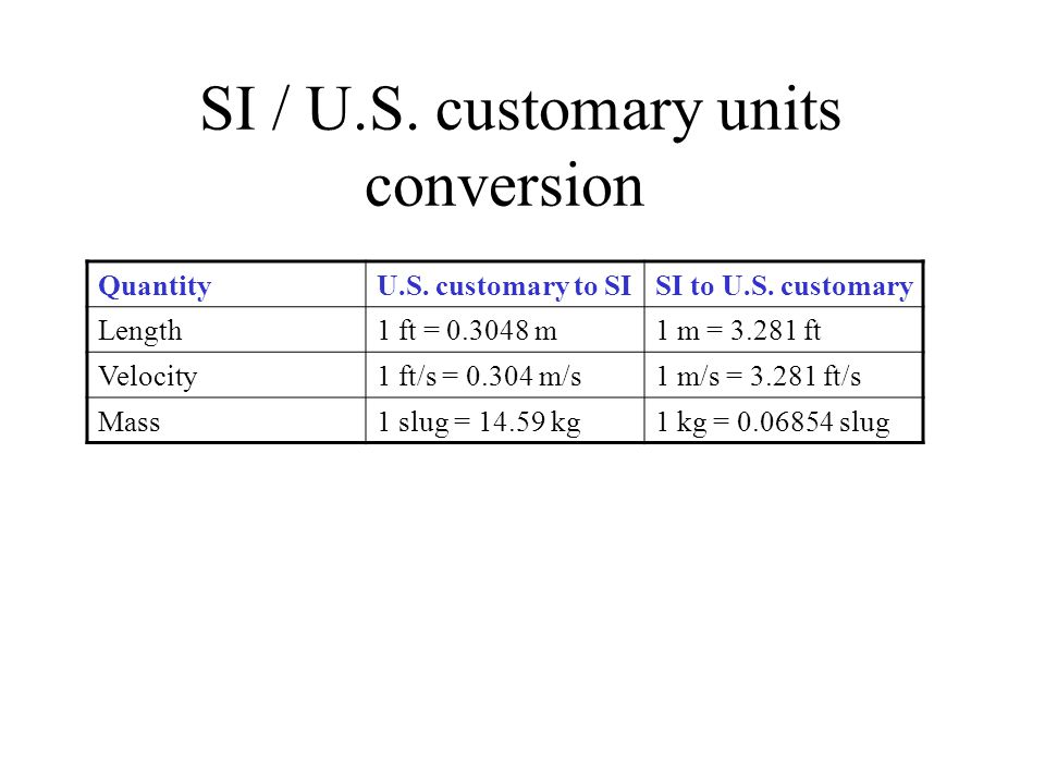 SI / U.S. customary units conversion