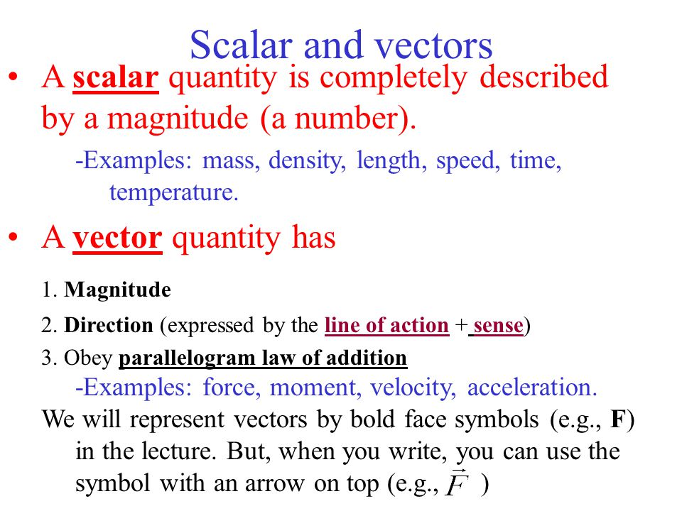 Scalar and vectors A scalar quantity is completely described by a magnitude (a number). -Examples: mass, density, length, speed, time, temperature.