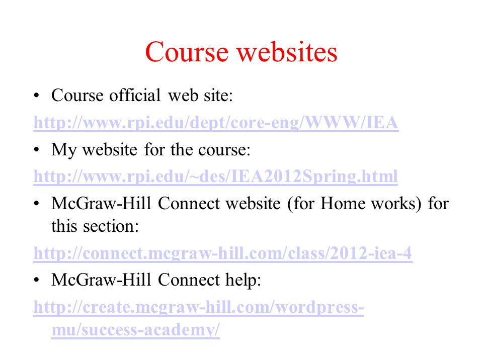 Course websites Course official web site: