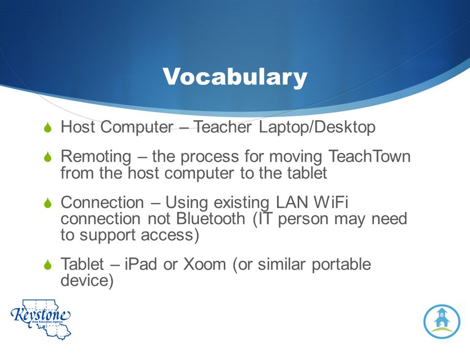 Vocabulary Host Computer – Teacher Laptop/Desktop