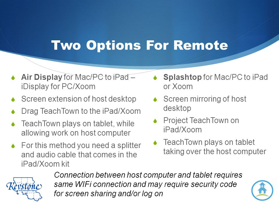 Two Options For Remote Air Display for Mac/PC to iPad – iDisplay for PC/Xoom. Screen extension of host desktop.