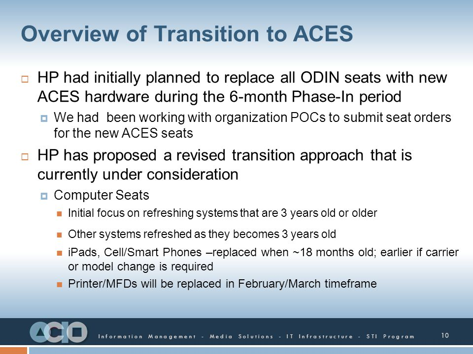 Overview of Transition to ACES