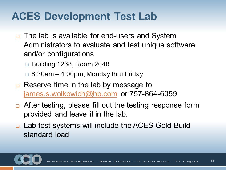 ACES Development Test Lab