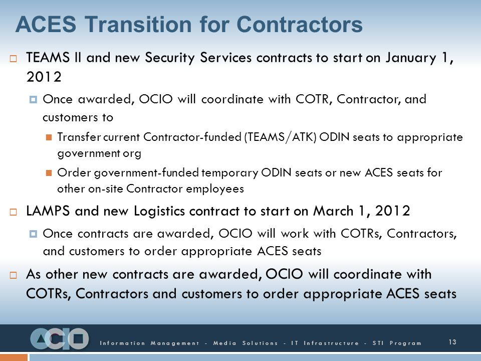 ACES Transition for Contractors