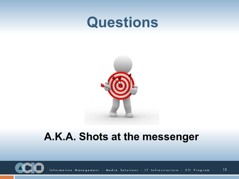 Questions A.K.A. Shots at the messenger