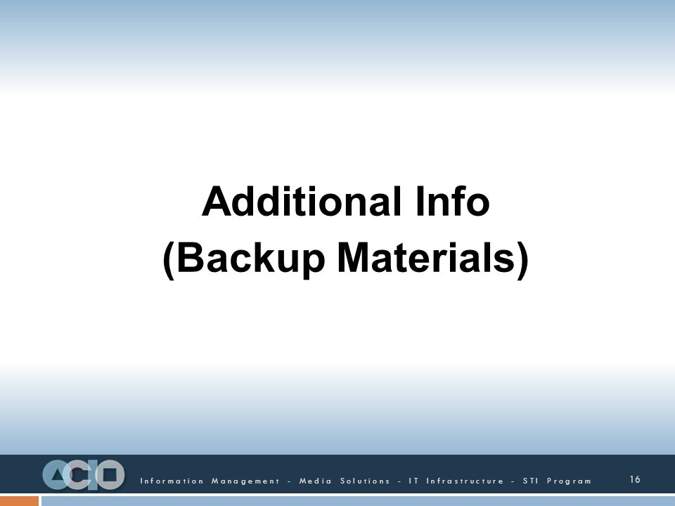 Additional Info (Backup Materials)
