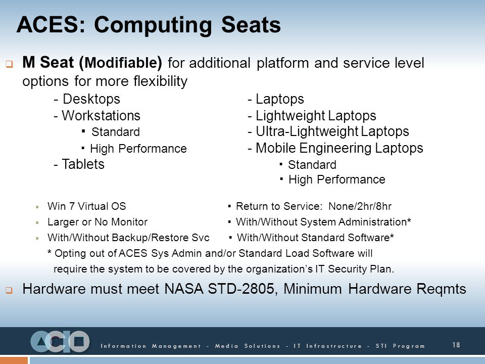 ACES: Computing Seats M Seat (Modifiable) for additional platform and service level options for more flexibility.