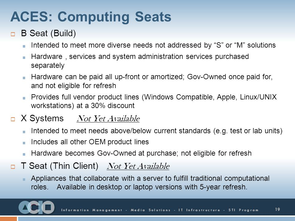 ACES: Computing Seats B Seat (Build) X Systems Not Yet Available