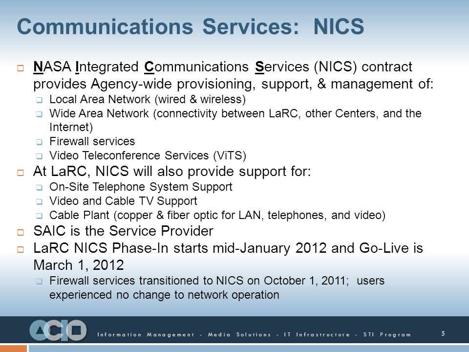 Communications Services: NICS