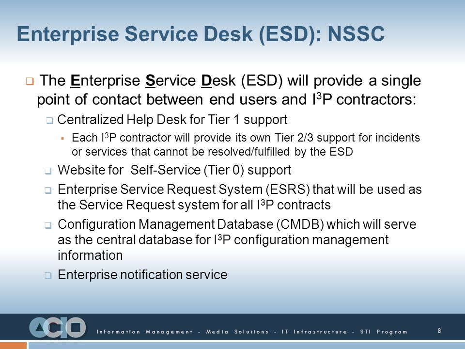 Enterprise Service Desk (ESD): NSSC