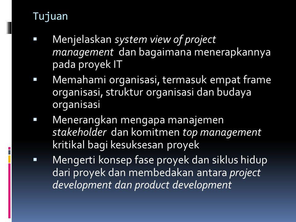 Tujuan Menjelaskan system view of project management dan bagaimana menerapkannya pada proyek IT.
