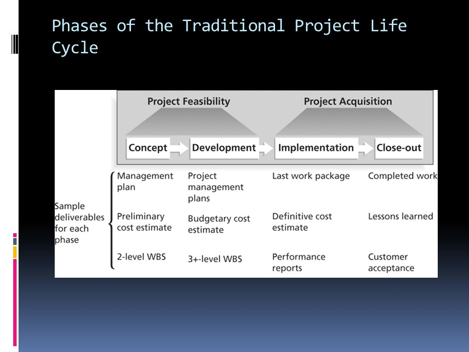 Phases of the Traditional Project Life Cycle