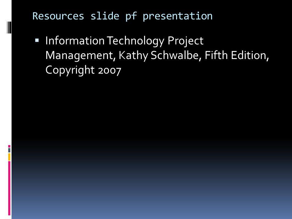 Resources slide pf presentation