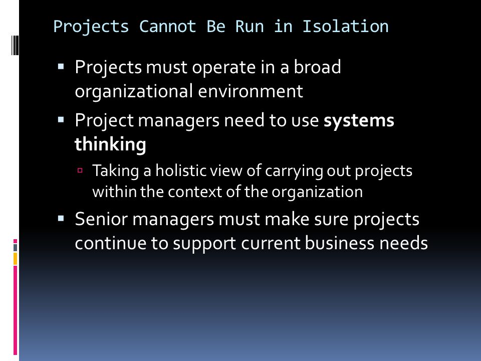 Projects Cannot Be Run in Isolation