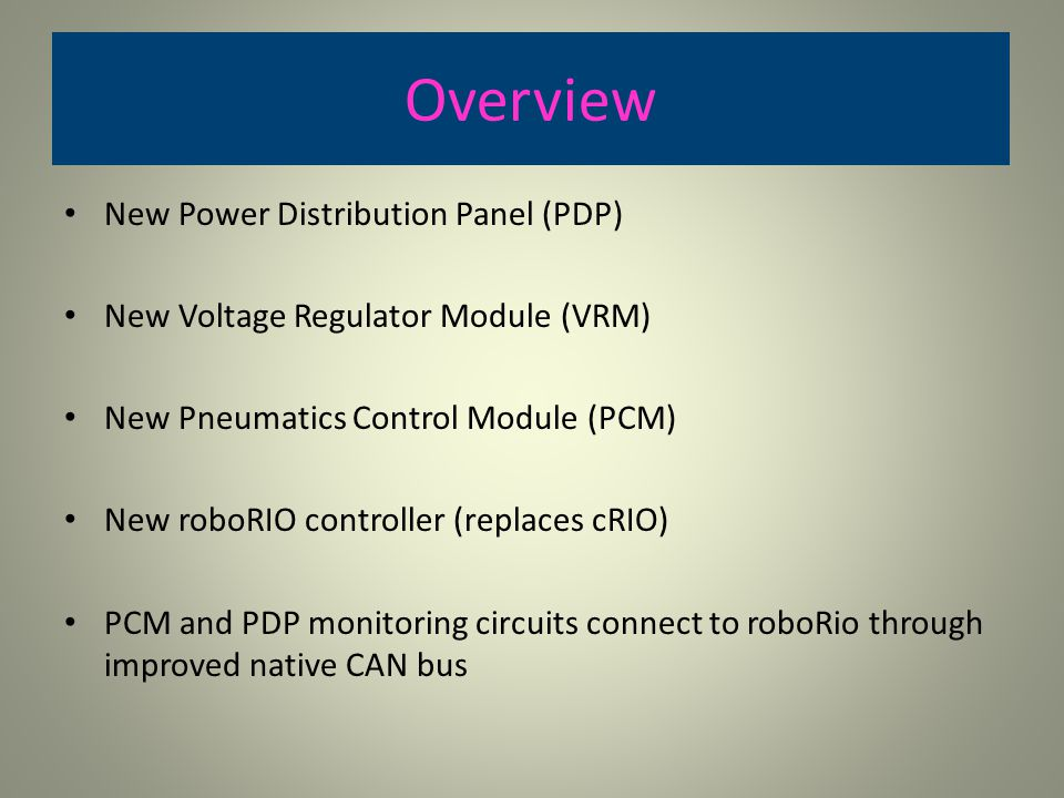 Overview New Power Distribution Panel (PDP)