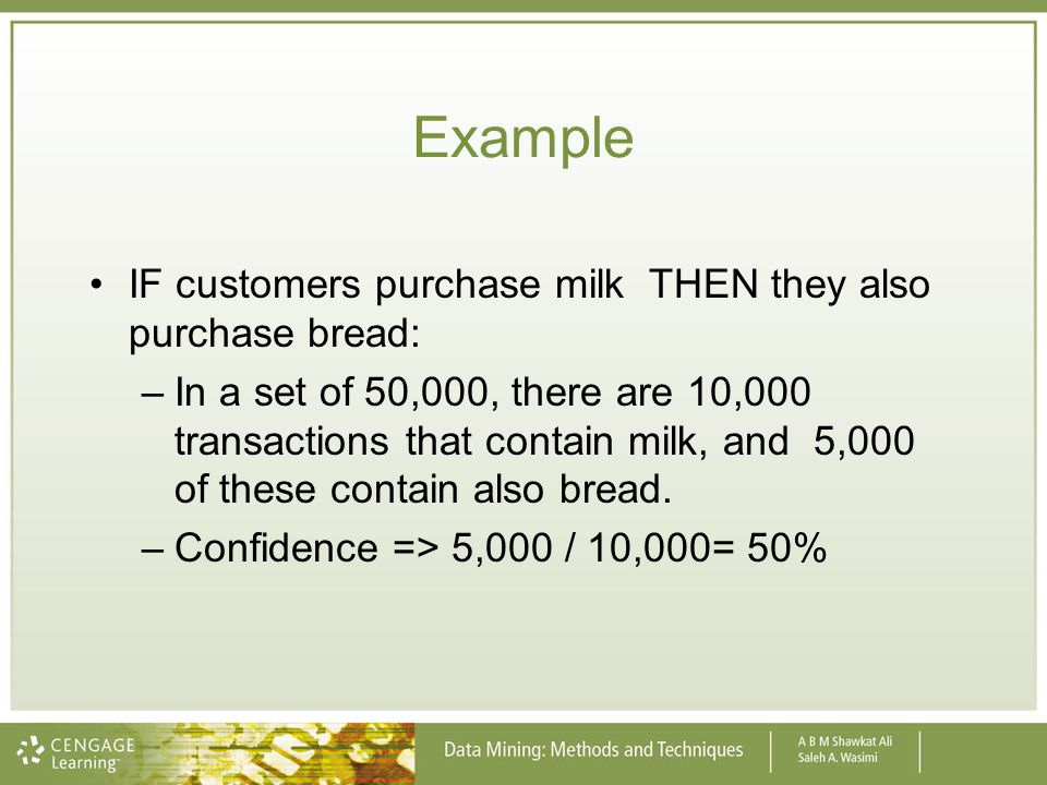 Example IF customers purchase milk THEN they also purchase bread: