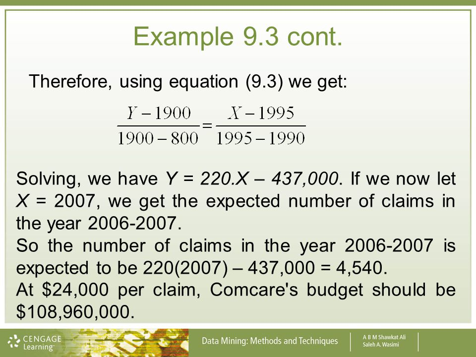 Example 9.3 cont. Therefore, using equation (9.3) we get: